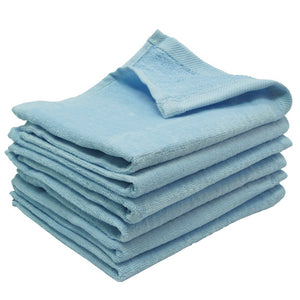 "wholesale 12 Pack Light Blue Color Velour 11"" x 18"" Fingertip Towels (Hemmed Ends) in bulk"