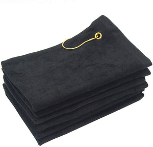 wholesale Black Velour Fingertip Golf Towels with Corner Grommet & Hook bulk