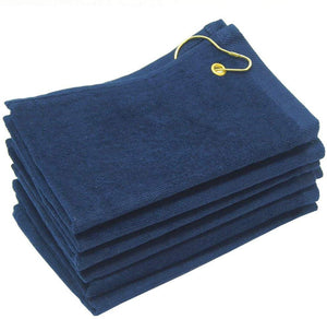 wholesale Navy Blue Velour Fingertip Golf Towels with Corner Grommet & Hook bulk