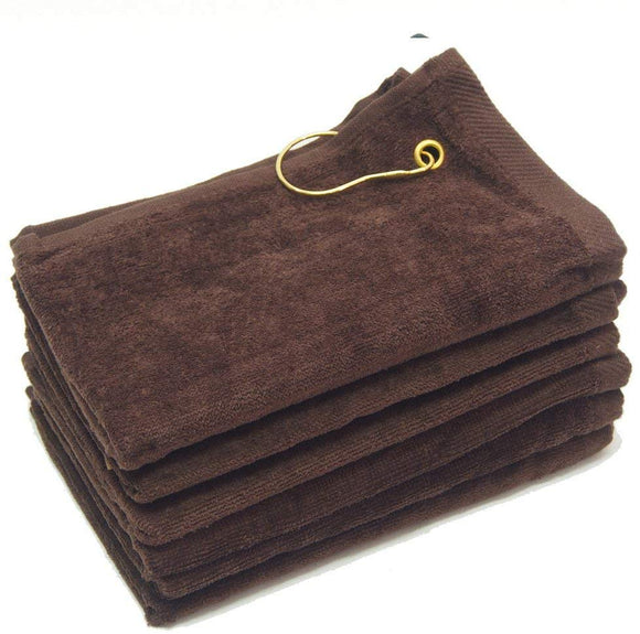 wholesale Brown Velour Fingertip Golf Towels with Corner Grommet & Hook bulk