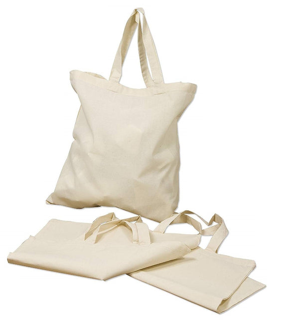 Wholesale 1 Dozen Eco-Pack Natural Cotton Plain Tote Bags in Bulk