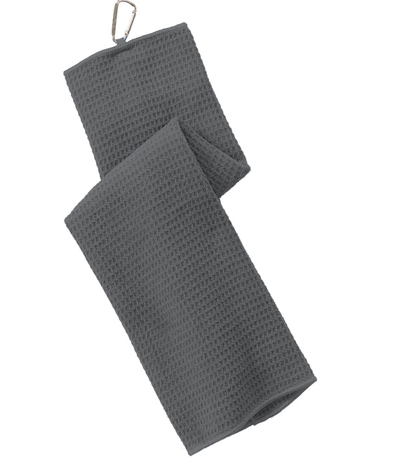 wholesale Tri-fold Waffle Microfiber Golf Towel, Gray Color grey in bulk