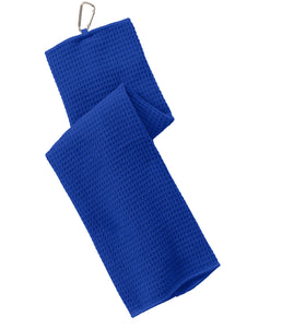 wholesale Tri-fold Waffle Microfiber Golf Towels, Royal Color in bulk