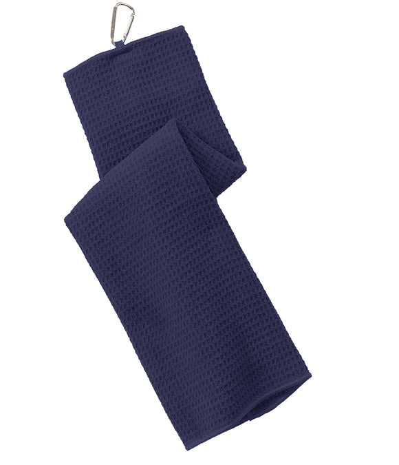 12 Pack Tri-fold Waffle Microfiber Golf Towel, Navy Blue Color