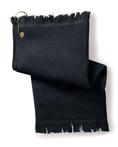 12 Pack Terry Velour Fingertip Golf Towels with Fringed Ends, Black Color