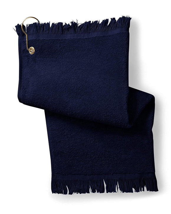 12 Pack Terry Velour Fingertip Golf Towels with Fringed Ends, Navy Color