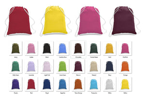 12 Pack Assorted Mix Color Budget Friendly Sport Drawstring Backpacks, %100 Cotton