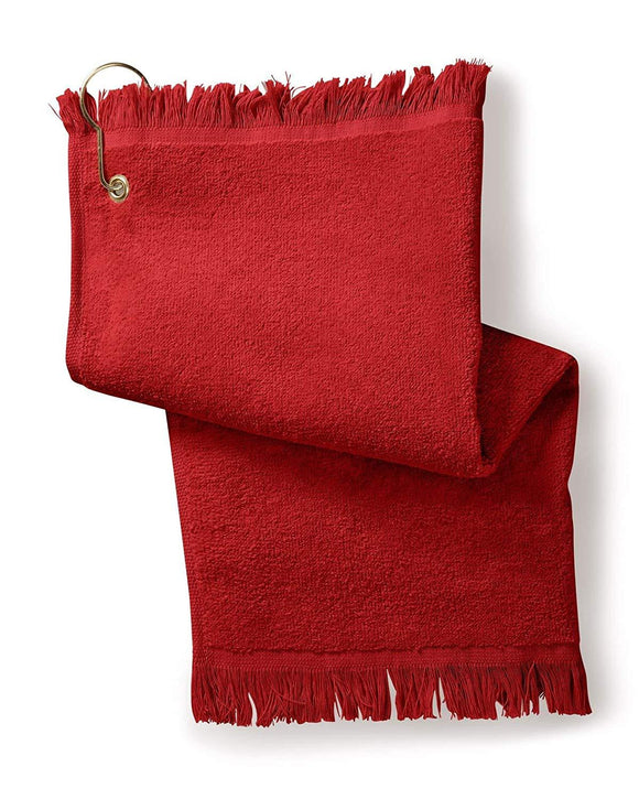 12 Pack Terry Velour Fingertip Golf Towels with Fringed Ends, Red Color