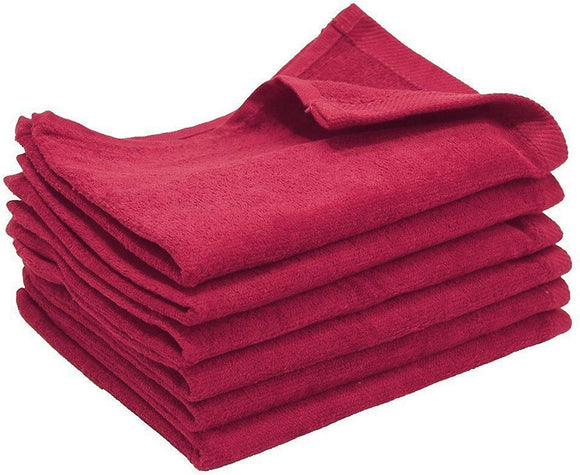 12 Pack Maroon Color Velour Fingertip Guest Towels in Bulk, 11