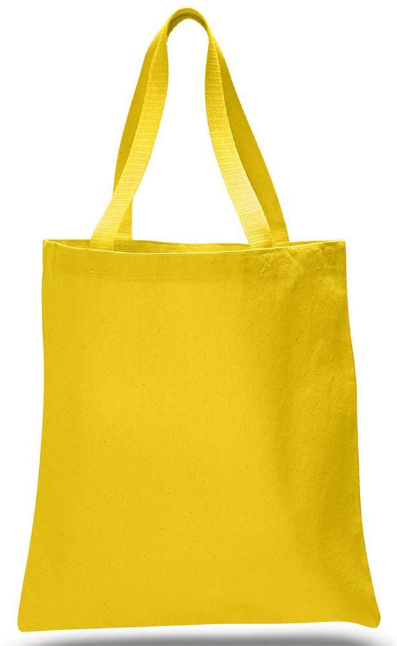 Yellow Color Canvas Reusable Shopping Cheap Tote Bags, Flat