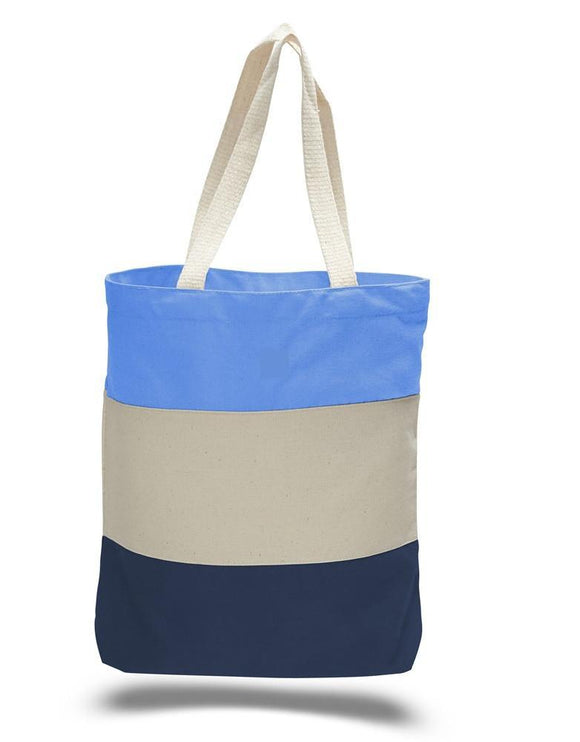 wholesale Everyday Tri-Color Canvas Blank Shopping Tote Bags