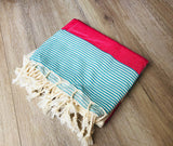 Red and Blue Color Premium 100% Cotton Turkish Peshtemal Beach Towels