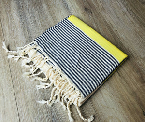 Premium Turkish Cotton Peshtemal Beach Towels, Yellow and Navy Blue Color