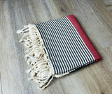 Premium Turkish Cotton Peshtemal Beach Towels, Red and Black Color