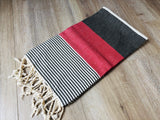 Red and Black Color Premium 100% Cotton Turkish Peshtemal Beach Towels