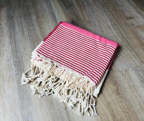 Light Pink and Red Color Premium 100% Cotton Turkish Peshtemal Beach Towels