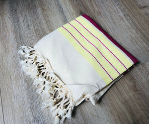 Red & Yellow Color Premium Turkish Cotton Peshtemal Beach Towels
