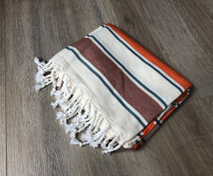 Orange and Maroon Color Premium 100% Cotton Turkish Peshtemal Beach Towels