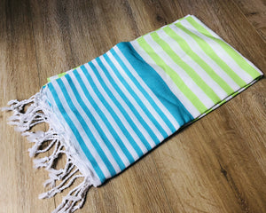 Sea Blue and Lime Green Color Premium 100% Cotton Turkish Peshtemal Beach Towels