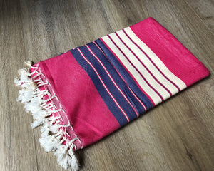 Hot Pink and Navy Blue Color Premium 100% Cotton Turkish Peshtemal Beach Towels