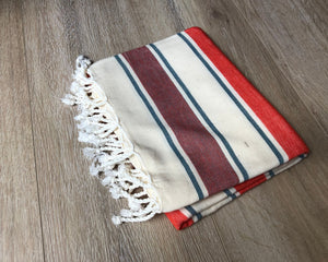 Maroon and Orange Color Premium 100% Cotton Turkish Peshtemal Beach Towels