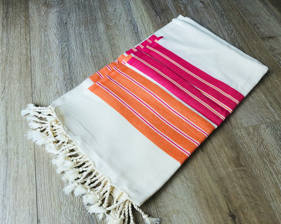 Apricot Orange Premium 100% Cotton Turkish Peshtemal Beach Towels