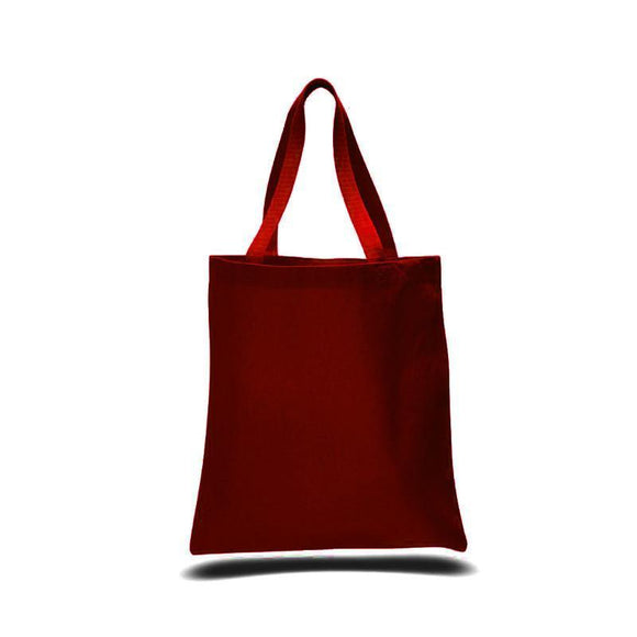 Maroon Color Canvas Reusable Shopping Cheap Tote Bags, Flat