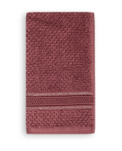 Terry Cotton Fingertip Towels, Set of 3, Maroon Color