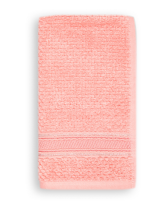 Terry Cotton Fingertip Towels, Set of 3, Pink Color