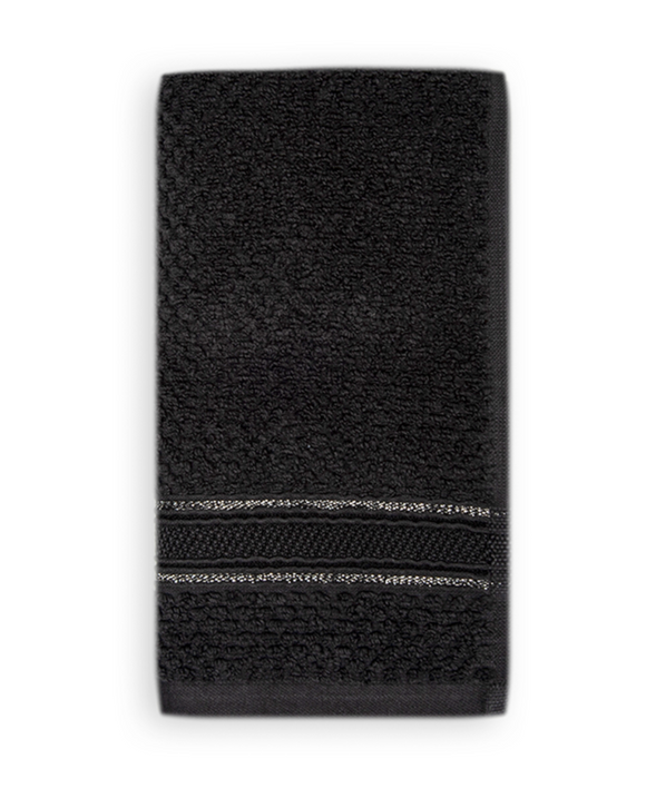 Terry Cotton Fingertip Towels, Set of 3, Black Color
