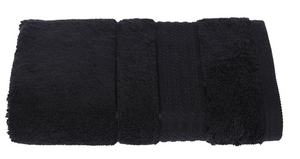 Turkish Cotton Hand Towels, Soft and High Absorbent, Set of 2, Black Color