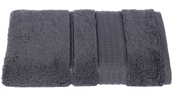 Turkish Cotton Hand Towels, Soft and High Absorbent, Set of 2, Dark Gray Color