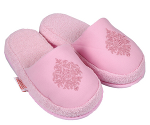Turkish Deluxe Terry Cotton Classic Spa Bath Slippers for Women, Closed Toe, Pink Color