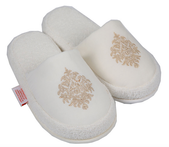 Turkish Deluxe Terry Cotton Classic Spa Bath Slippers for Women, Closed Toe, Beige Color
