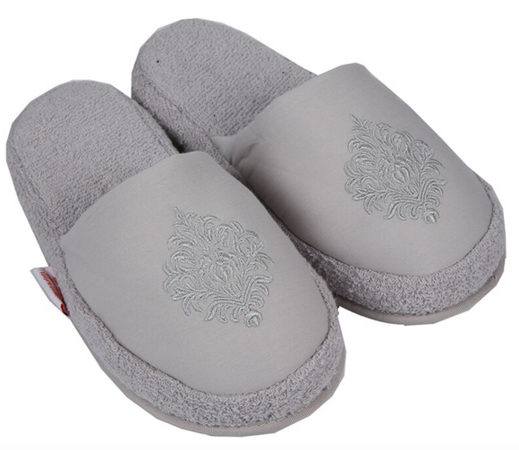 Turkish Deluxe Terry Cotton Classic Spa Bath Slippers for Women, Closed Toe, Gray Color