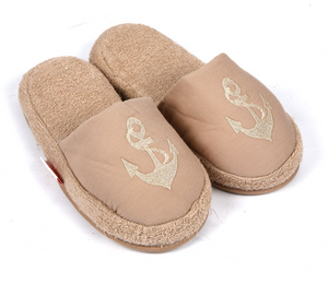 Turkish Deluxe Terry Cotton Classic Spa Bath Slippers for Women, Closed Toe, Stone Color