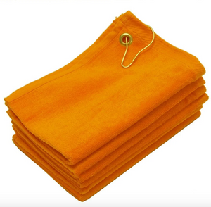 "12 Pack Gold Velour 11"" x 18"" Fingertip Golf Towels with Corner Grommet & Hook"