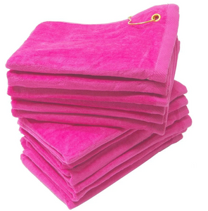 "Wholesale Hot Pink Velour 11"" x 18"" Fingertip Golf Towels with Corner Grommet & Hook in bulk"