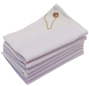 "White Color Velour 11"" x 18"" Fingertip Golf Towels with Corner Grommet & Hook"