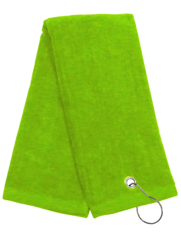 Tri-fold Golf Towels with Metal Bag Clip, Lime Color