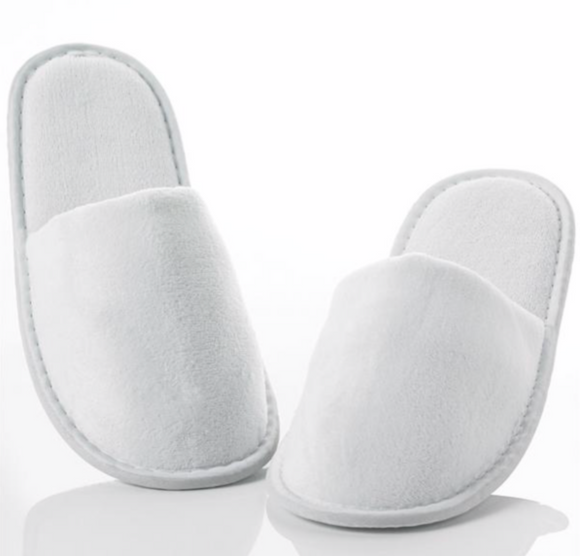 12 Pairs Closed Toe Terry Spa Slippers Hotel Unisex Slippers