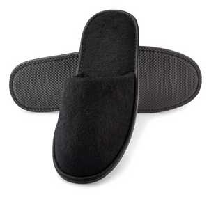 12 Pairs Black Closed Toe Terry Hotel Slippers Wholesale