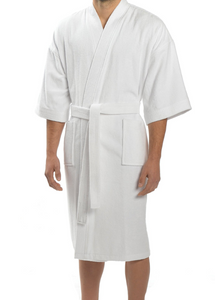 wholesale Cotton Terry Velour Kimono Robes in bulk, White cheap wrap towels