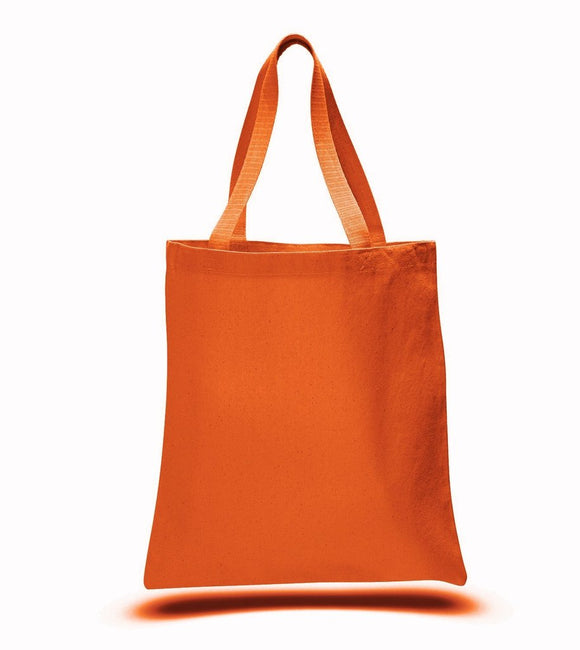 Orange Color Canvas Reusable Shopping Cheap Tote Bags, Flat
