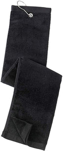 Tri-fold Golf Towel with Metal Bag Clip, Black Color