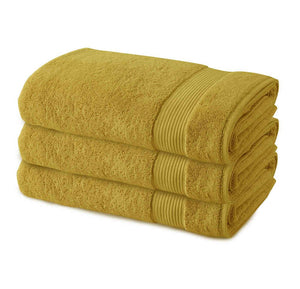 3 Pack Premium Quality Terry Cotton Fingertip Towels, Mustard Yellow Color