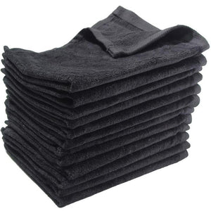 3 Eco-Pack Black Fingertip Sports Golf Towels, Small Hand Towels
