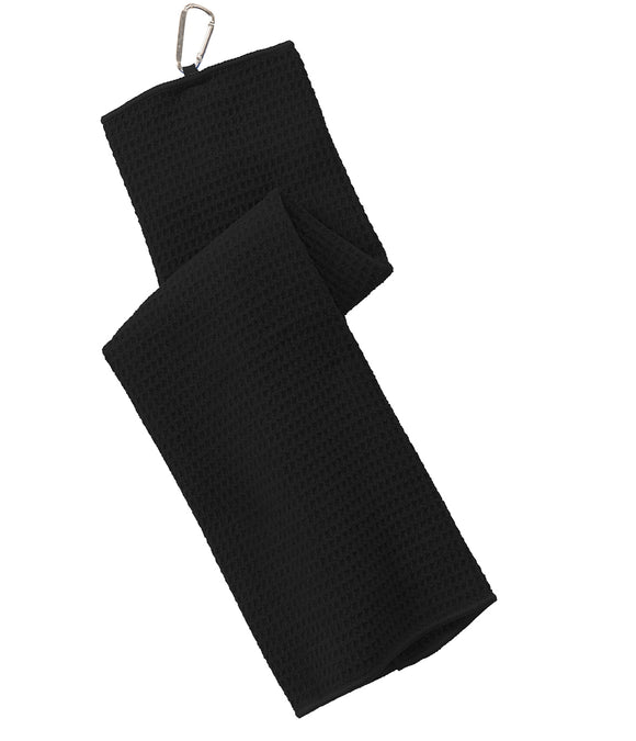 12 Pack Tri-fold Waffle Microfiber Golf Towel, Black Color