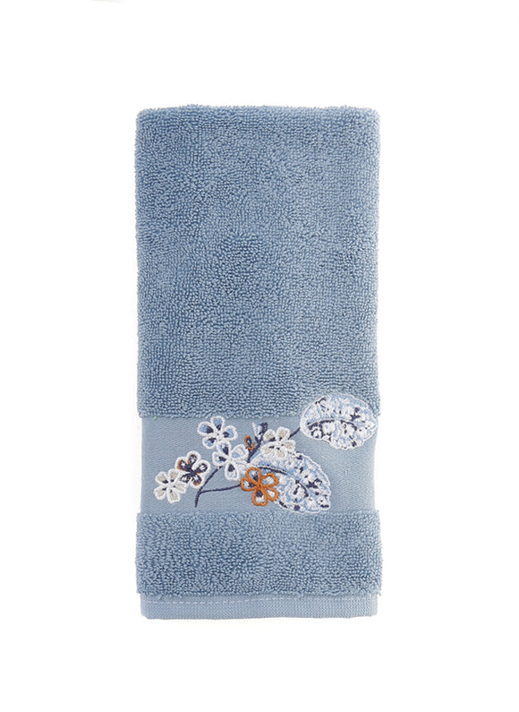 Floral Pattern Fingertip Towels, Blue Color