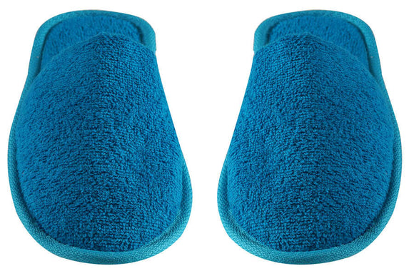 Turkish Luxury Terry Cotton Classic Spa Bath Slippers, Closed Toe, Blue Color Wholesale Bulk